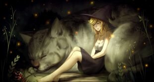 Download Witch Girl Big Cat Fantasy Wallpaper