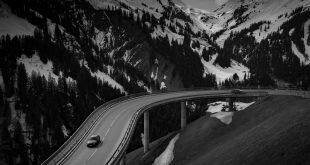 Grey Car on Road Near Snow Covered Mountain Wallpaper